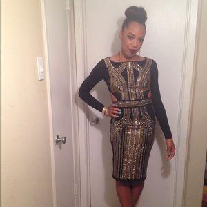 Black and Gold Bebe Dress